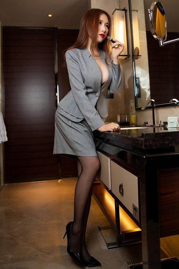 【模特】【月音瞳】养眼美女秘书月音瞳黑丝短裙丰满事业线诱人至极【39P】 制服